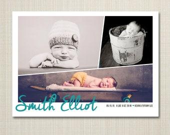 birth announcement- modern baby, boy announcement,  Baby girl announcement, Newborn Printable Digital announcement