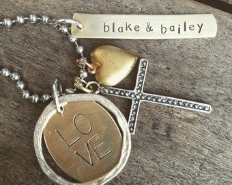 Hand Stamped Name Rectangle Tag, Sterling Silver Cross, LOVE Oval tag, Brass Heart Charm Family Necklace