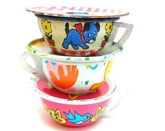 Tin Toy Tea Cups & Saucers, Set of 6 with cat, dog, bird, dessert.