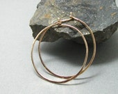 Sterling Silver  or Gold Filled Hoops, Hand Forged Hoops, Artisan Sterling Wire Hoops with self closure, Gold Hoops in 3 sizes