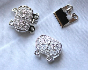 2 strand Silver plated brass clasp, oval shape, 14 x 9mm