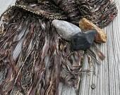 RESERVED - Hand Woven Scarf - Fiber Art Scarf  -  Sage, Copper, Bronze, Oak - Fringe Scarf - Neutral Color Scarf
