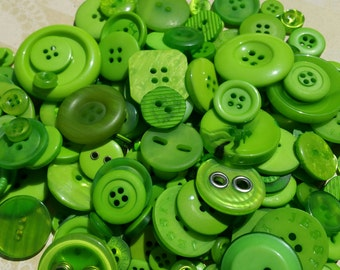 Green Buttons - Bulk Button - Bright Green Sewing Crafting - 100 Buttons - Emerald Isles