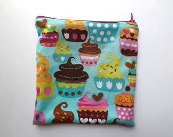 Sandwich Bag - Kids - Turquoise Cupcakes - Lunch Bag