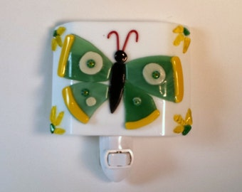 Fused Glass Green and Yellow Butterfly Nightlight