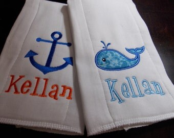 Personalized Set of Nautical Burps Boy Girl Whale Anchor