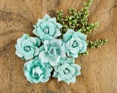 Handmade Prima Mulberry Green Rose Flowers Embellishments 6-pcs