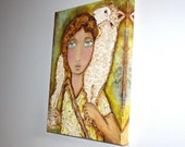 Young Good Shepherd - High Quality Canvas Print  16 x 20 inches -  by FLOR LARIOS