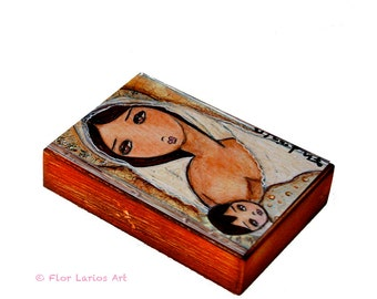 Maternity -  Giclee print mounted on Wood (4 x 5 inches) Folk Art  by FLOR LARIOS