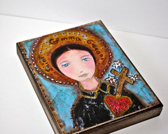 Saint Gemma -  Giclee print mounted on Wood (4 x 5 inches) Folk Art  by FLOR LARIOS