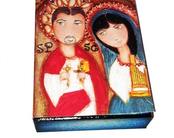 Saint Paul and Saint Cecile - Aceo print mounted on Wood (2.5 x 3.5) Folk Art  by FLOR LARIOS