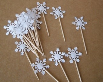 20 Snowflake party picks, snowflake cupcake topper, snowflake toothpicks, cake topper, hors d'oeuvre pick, snow topper, sandwich pick