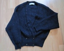 Vintage St Michael Dark Blue Fuzzy Mohair Knit Button Front Grandpa Cardigan Sweater Jacket