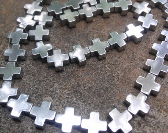 6 8mm Square Hematite Cross