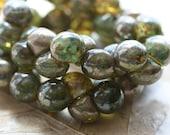 METALLIC MOSS BUTTON .. 30 Premium Picasso Czech Button Mushroom Beads 8x9mm (4636-st)