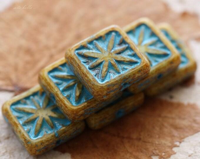 STARLIGHT CREAMS .. 6 Premium Picasso Square Czech Glass Beads 15mm (4625-6)