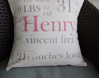 Custom Made Baby Stats Pillow Cover - 16""