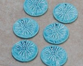 Pottery Focal Pendant Bead, in Caribbean Blue with Dandelion Design