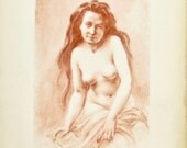 Nude Woman Sketch 1910,  Female Nude Lithographs
