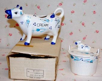 Vintage New in Box ENESCO JAPAN Blue & White Cow Creamer  3pc Sugar Bowl