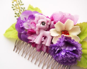 Pretty Purple Pony Floral Hair Comb-MLP Fan-Brony Wedding-Offbeat Bride-Purple Flowers-Kitsch Accessory-Bright Chunky Chic-Fun Fascinator