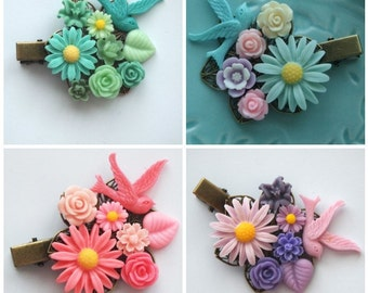 Daisy Cluster Clips - Bird cute chic bright colorful offbeat wedding prom