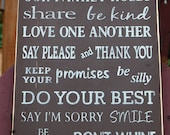 READY TO SHIP - Family Rules Distressed Wood Sign