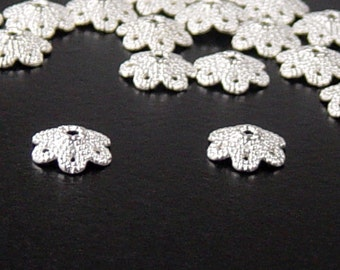 Silver Bead Cap 50 Shiny Silver Flower Filigree Victorian 6 point 10mm (1141cap10s1)