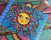 Sun and Sky, Singleton Hippie Art, Trinket box, stash box, Sunshine, blue box, wooden box, jewelry box, Sun art,