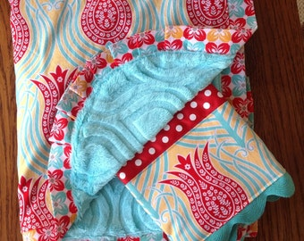 BoHo Tulip Blanket and Burp Cloth Set...Personalization available