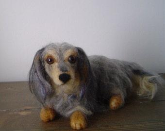 Pet Portrait Dachshund needle felted custom dog sculpture animal