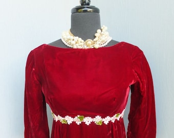 vintage 1960s Lorrie Deb San Francisco, RED Velvet Party Dress, Bridesmaid, Prom, Formal, Maxi, Boho, Size Small, PETITE