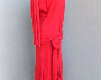 1980s VAKKO Cherry Red Suede Leather Midi/Maxi Dress w/Drop Waist, Padded Shoulders and a Wrap Belt / Medium