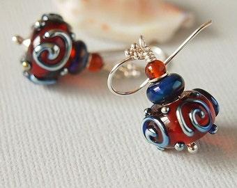 Amber Scroll Lampwork Glass Bead Earrings, Blue, Artisan, Handmade,Sterling Silver - NANCY