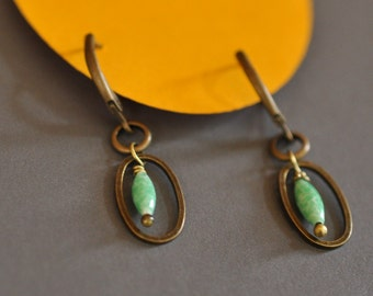 Oblong turquoise oval earrings