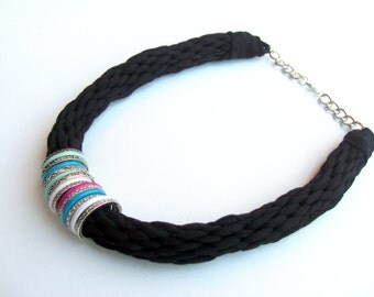 Black Cotton Necklace, Tribal Necklace, Edgy Necklace, Textile Necklace, Black Statement Necklace, Colorful Necklace, Chunky Necklace, Black