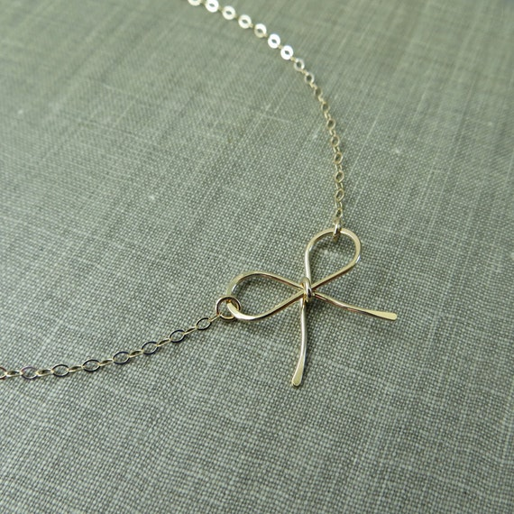 14K Yellow Gold Filled Dainty Bow Necklace - Simple Modern Minimal Wire Jewelry
