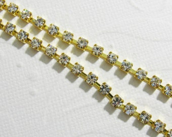 "3mm (12SS) Gold Plated Preciosa Crystal Cup Chain - increments of  one foot (12"")"