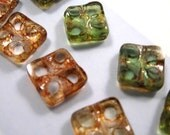 Czech Yin Yang Picasso Finished Square (11mm) Mixed Beads Crystal and Green Transparent  - 14 ct