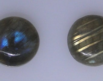 2 Labradorite round cabochons, 15mm each, 20.90 carats total weight                                         043-17-127