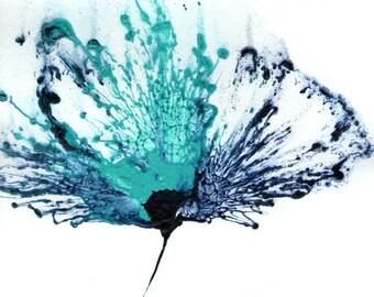 Blue Flower Painting, Wall Art Abstract, Teal Artwork, Original Art