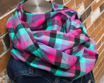 Teal, Pink & Black Small Checkered Lightweight Flannel Tween Infinity Scarf, Toddler Infinity Scarf, Child Infinity Scarf