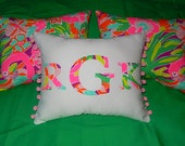 New MONOGRAM pillow made with Lilly Pulitzer 2015 Multi LuLu by Garnet Hill fabric
