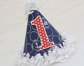 NEW Navy Blue and White Nautical Print Birthday Party Hat with red dot number - anchors, sailboat party, nautical, preppy party