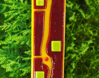 Home Decor - Garden Art  - Yellow Red Spring Green Orange Fused Glass Art Stake - Outdoor Decor