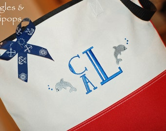 Personalized beach tote bag with dolphin anchor wedding bridesmaid bride flowergirl