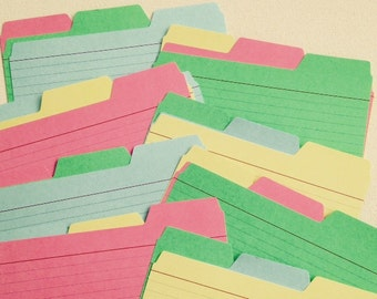 set of 24 Light Weight Card Stock Colored Tabbed Dividers  4 x 6 inch