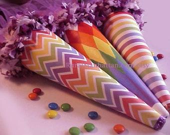 Rainbow Candy Cones Rainbow Ornament Ornie Tussie Mussie Candy Container Bonbon Lavender Ribbon Decoration Celebration Prism Treat Box
