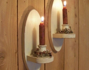 Oval Wall Sconce Pair Primitive Candle Holders Vintage Style Shabby Chic Cottage Antique White Color Choice