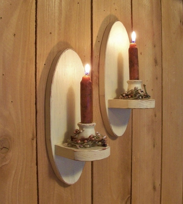 Oval Wall Sconce Pair Primitive Candle Holders Vintage Style